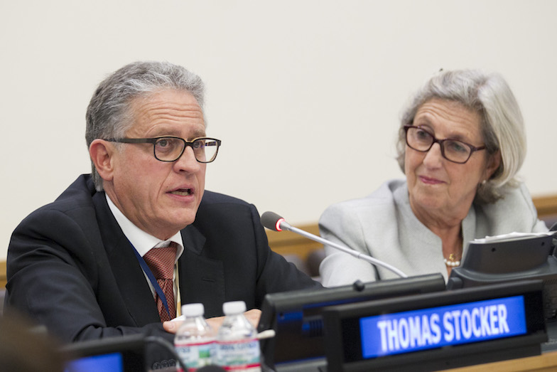 Thomas Stocker as co-chair of IPCC Working Group I in 2014, speaking at the Climate Summit at UN Headquarters in New York, with Julia Marton-Lefèvre, the former director-general of the International Union for Conservation of Nature, is to the right.