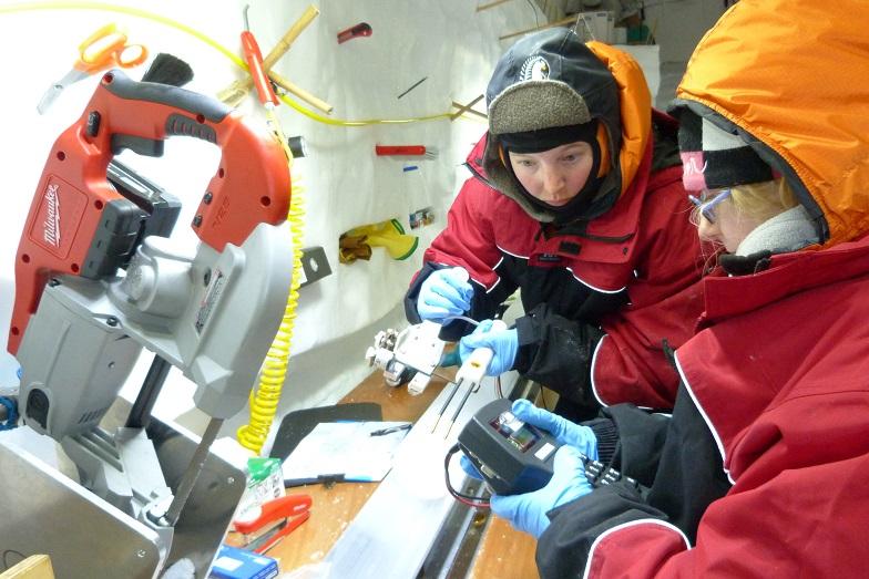 Processing ice cores in Antarctica