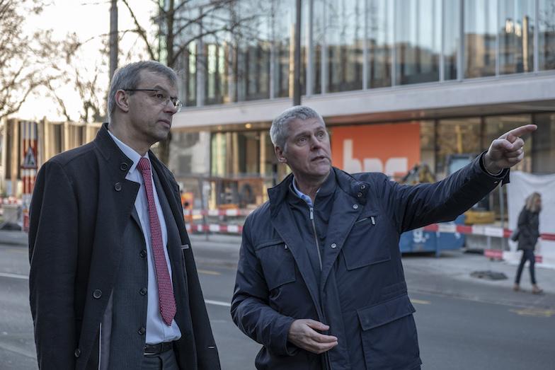 Jan Palmowski (left) and Christian Leumann outside the sitem-insel site