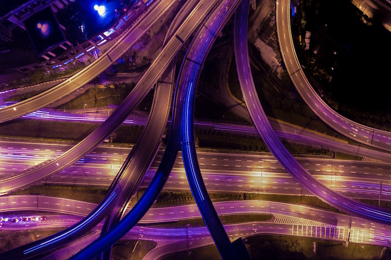 view from above on network of roads at night