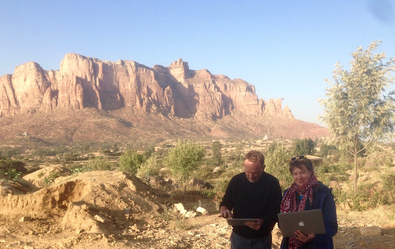 Beate Fricke in the field in Tigray, Ethiopia, with Finbarr Barry Flood, professor at New York University