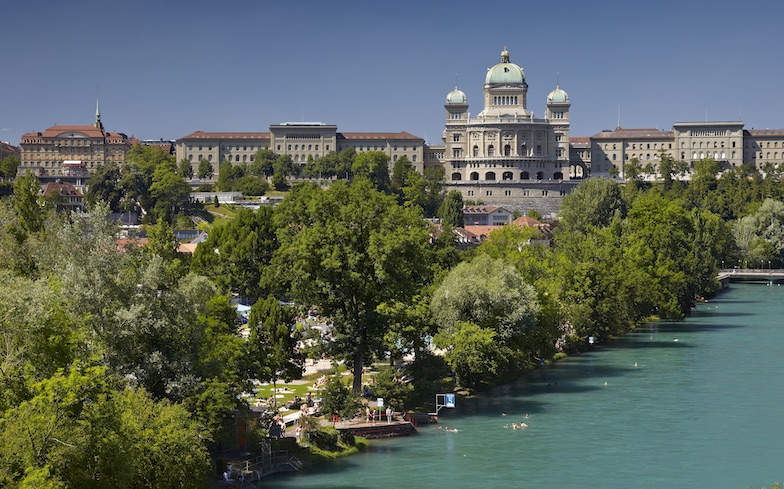 Switzerland's Federal Parliament (centre) is located in Bern